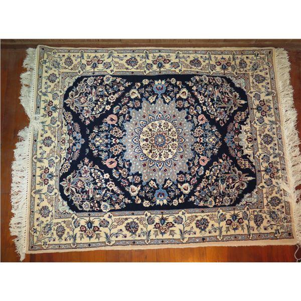 "Persian Rug, Floral Motif Cream/Navy/Blue/Pink/Gray 50"" x 41"""