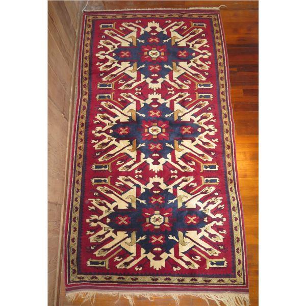 "Persian Runner Rug Geometric Pattern Red/Blue/Tan/White 79"" x 43"""