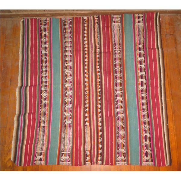 """Woven Rug Striped Animal Motif Red/Turquoise/Cream/Orange/Pink 39"""" x 38"""""""