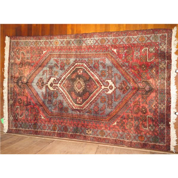 "Persian Rug, Geometric Pattern Red/Gray/Brown/Orange/White 80"" x 50"""