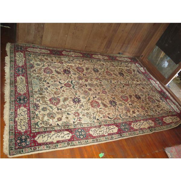 "Persian Rug, ""Tabriz"" Animal & Floral Motif Cream/Red/Blue/Tan 144"" x 98"""