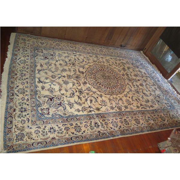"Persian Rug, Silk Floral Motif Cream/Blue/Navy/Tan 144"" x 101"""