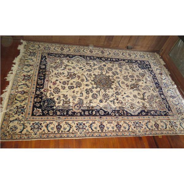 "Persian Rug, Floral Motif Cream/Navy/Blue/Tan 120"" x 79"""