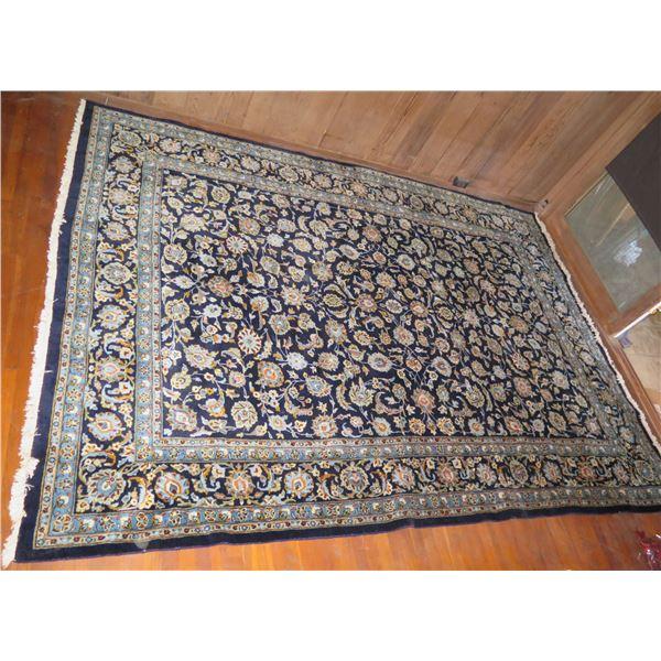 "Persian Rug, Floral Motif Navy/Cream/Blue/Orange/White 135"" x 98"""