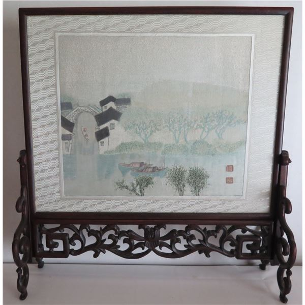 """Framed Art on Carved Wooden Stand, Chinese Embroidered Tapestry Maker's Mark 21""""x 22"""""""