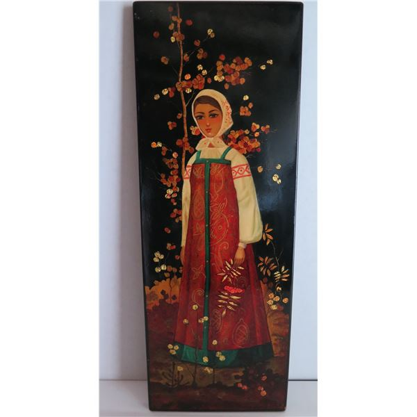 """Painted Art, Maiden w/Flowers Signed 6"""" x 16"""""""