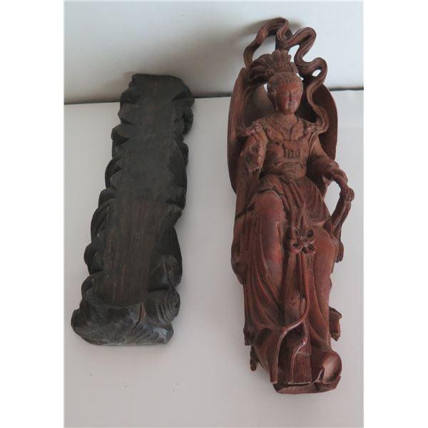 Wooden Figurine on Carved Wooden Holder