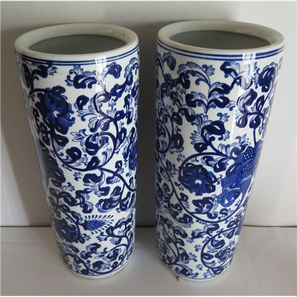 """Qty 2 Asian Ceramic Cylindrical Vases, Floral Motif Blue/White 7"""" Dia, 18""""H"""""""