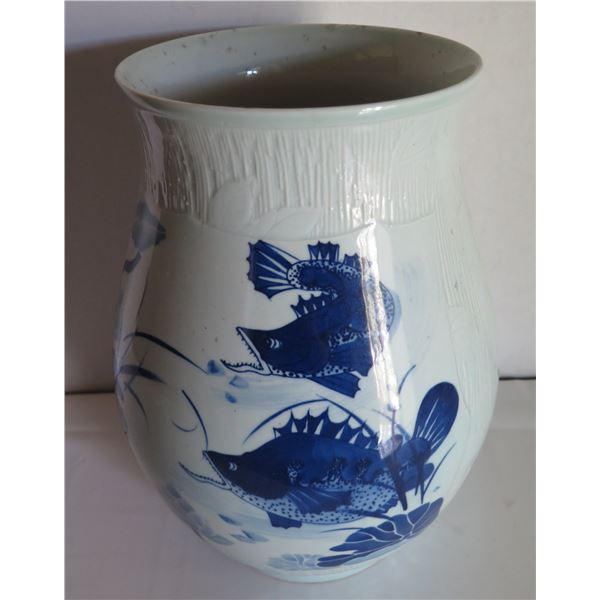 "Chinese Ceramic Vase, Fish & Lotis Motif w/Chinese Characters, Blue/White 14"" x 9"""