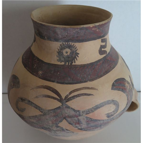 """Hand Painted Clay Pottery Bowl w/Handles 14"""" x 15"""""""