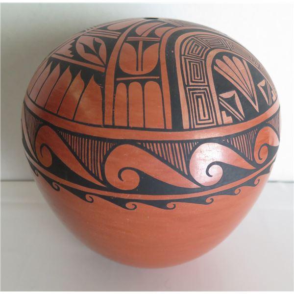 """Jemez Pueblo Pottery Seed Pot, Geometric Design, Signed Caroline G Loretto 10"""" x 9"""""""
