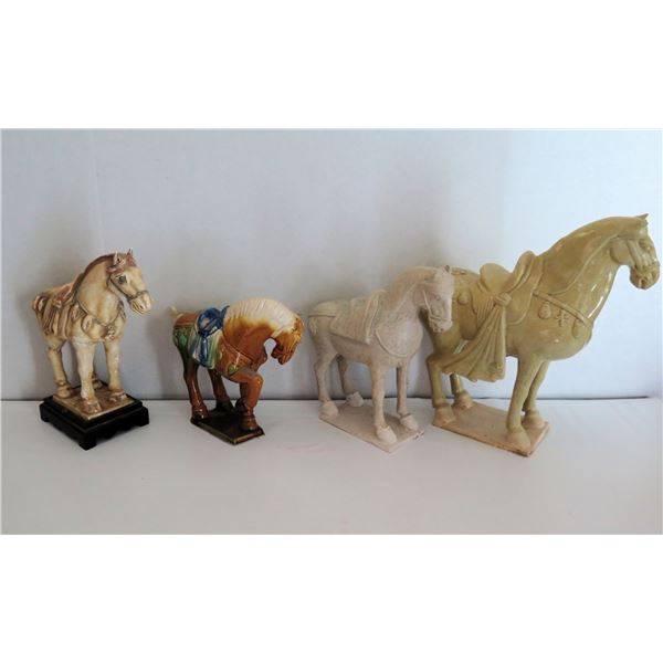"""Qty 4 Horse Figurines, Ceramic Appx 12"""" Tall"""