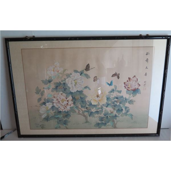 """Framed Art, Peonies & Butterflies w/Chinese Characters, Maker's Mark 37"""" x 25"""""""