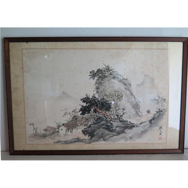 """Framed Art, Landscape Scene Black/White Maker's Mark 19"""" x 29"""""""