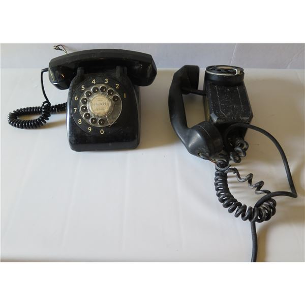 Qty 2 Vintage Black Telephones, Automatic Electric Rotary Dial Desk & Monophone Wall Mount