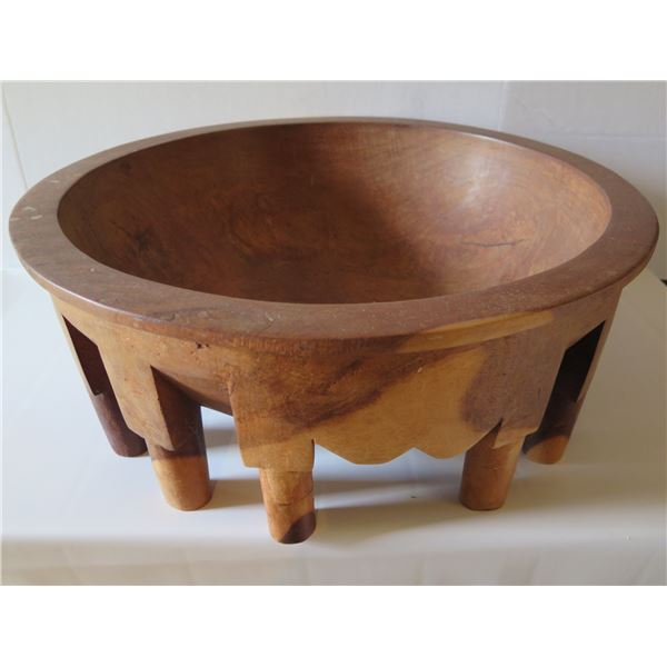 """Carved Wooden Kava Bowl 21"""" Dia x 8"""" H"""