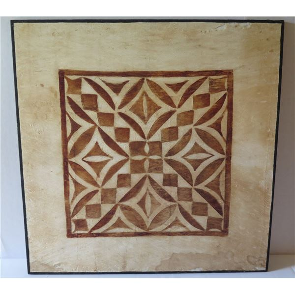 "Tapa Cloth Geometric Print, Brown/Cream 24"" x 24"""