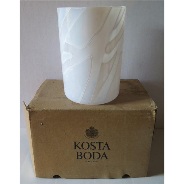 """Kosta Boda Glass Vase, White in Box 7"""" Tall"""