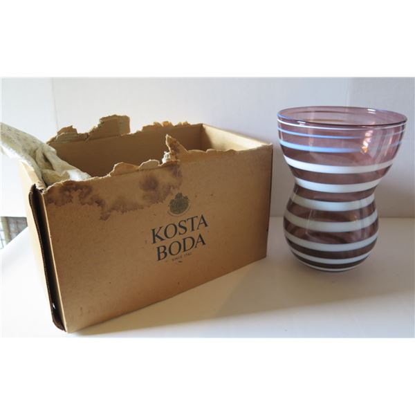 "Kosta Boda Glass Vase, Striped on Purple Signed 10"" Tall"