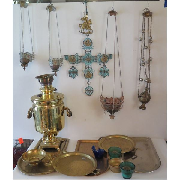 Misc Metal Dishes, Incense Holders, Crucifix, Coffee Urn, Plates, Candleholders, etc