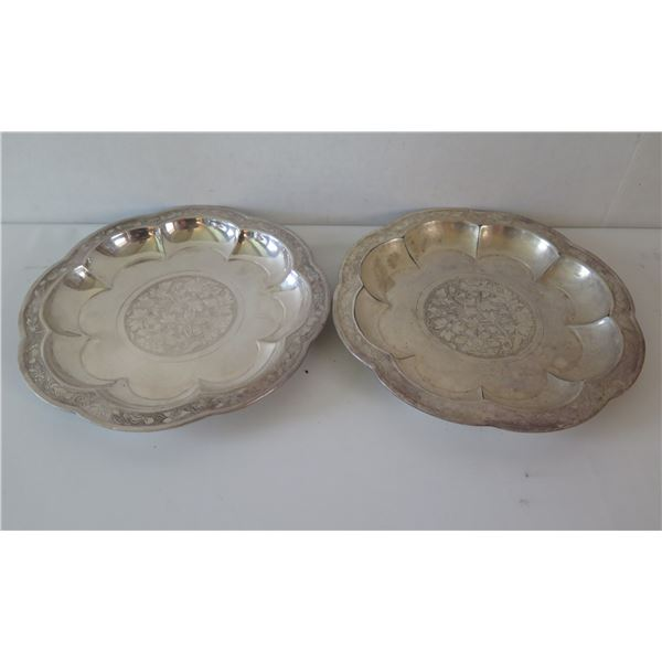 Gorham Chinese Plates Yuan Dynasty, Engraved Floral Center & Borders