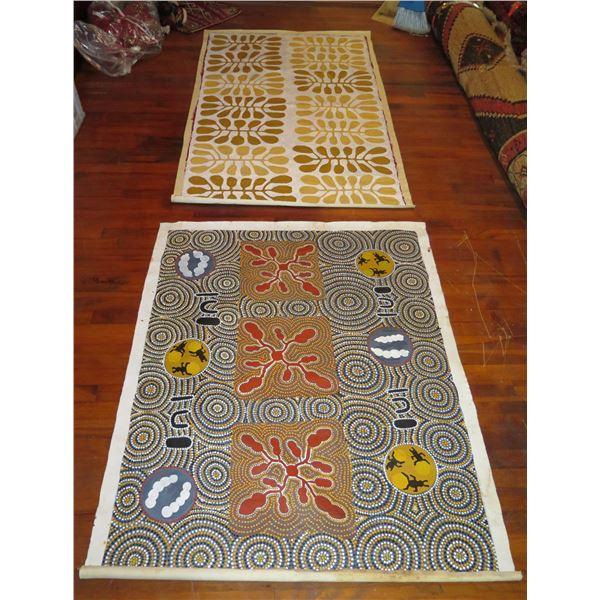 Qty 2 Australian Aborginal Art, Signed Esther Haywood, Yellow  Signed Mitjili Napurrula 51x41 & 62x3