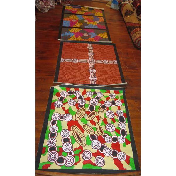Qty 3 Australian Aboriginal Art, Signed Debra McDonald Goanne Holes, Dreaming Papunya, Papunya (39x6