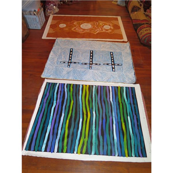 Qty 3 Australian Aboriginal Art, 1 Not Signed, Signed Debra McDonald, Nellie Marks (54x39, 64x38)