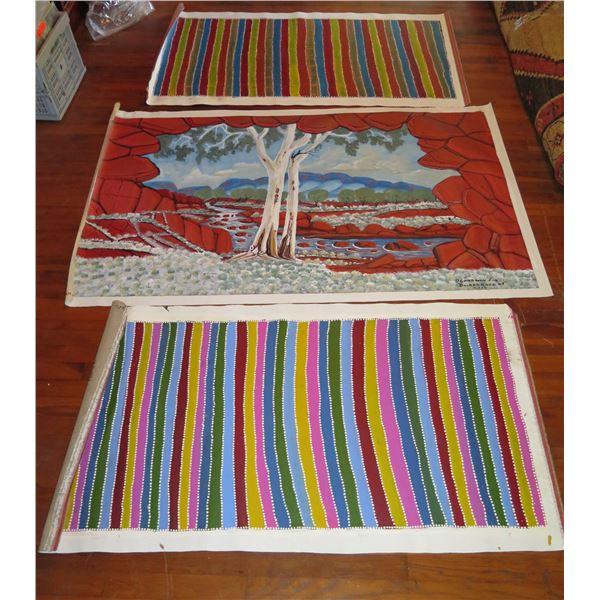 Qty 3 Australian Aboriginal Art, 2 Striped Not Signed, 1 Signed D Goodwin 62x39, 54x29)