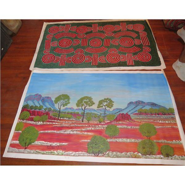 Qty 2 Australian Aboriginal Art, Signed D Goodwin, David Ross (39x62)