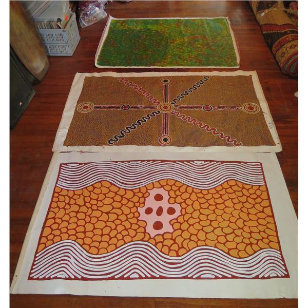 Qty 3 Australian Aboriginal Art, Signed Nellie Marks, Ronnie Bird Jangala, Josie Petrick Kemarre (54