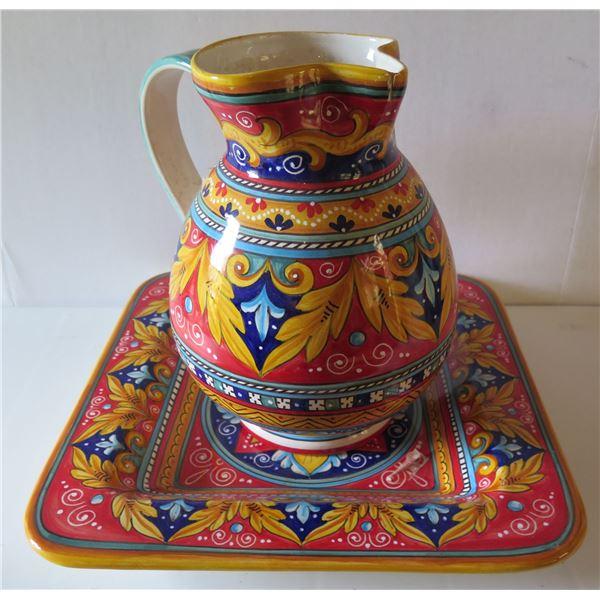 "Italian Deruta Hand Painted Ceramic Pitcher 11.5""Tall & Square Serving Platter, 15""W"