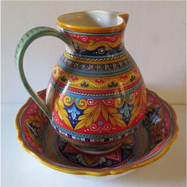 "Italian Deruta Hand Painted Ceramic Pitcher 12""Tall & Bowl 13"" Dia"