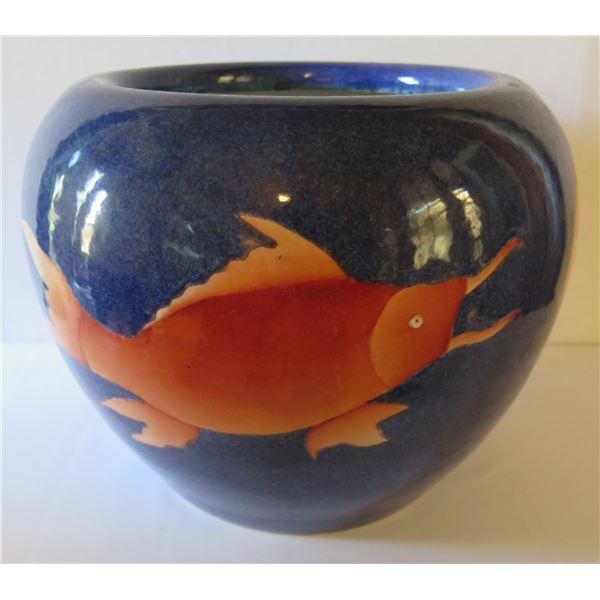 """Chinese Ceramic Pot, Blue/Orange Koi Fish Motif 10.5"""" Tall"""