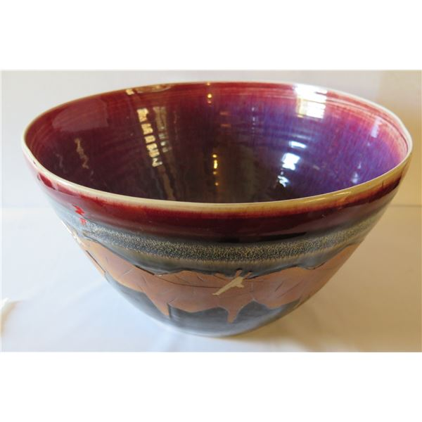 "Ceramic Bowl, Oxen Motif Red/Blue/Tan, Signed 8"" Tall"