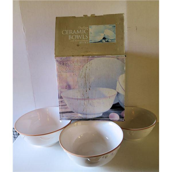 Qty 3 Italian Ceramic Bowls, White w/Raised Fruit Design, Tan Border