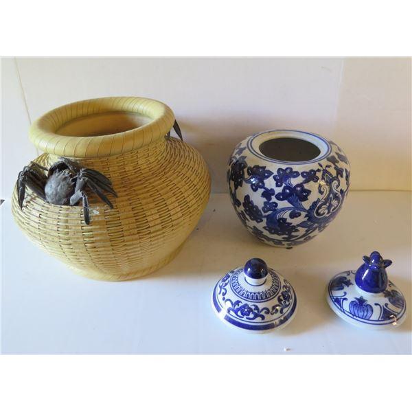 Ceramic Wicker Bowl w/Black Crab Ornament, Chinese Ginger Jar w/ 2 Lids