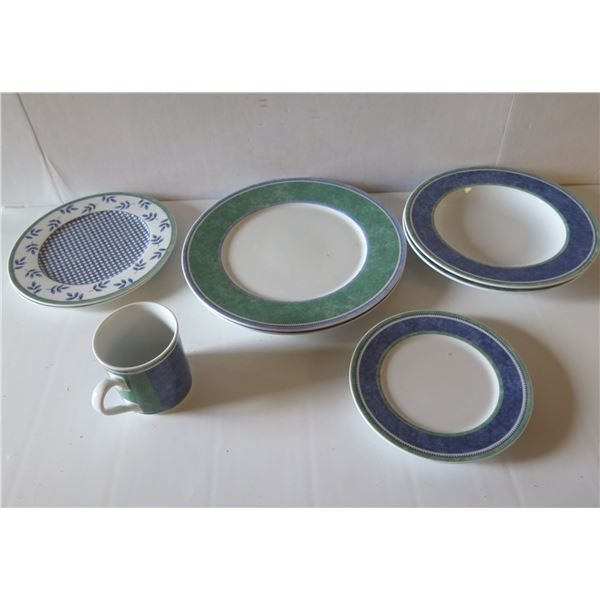 """Qty 8 Villeroy & Boch Plates & Coffee Mug, """"Switch 3"""" Costa, Porcelain"""
