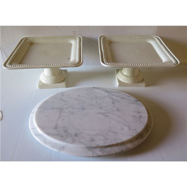 """Qty 3 Serving Platters, 2 Square White Ceramic Stands 9"""" W x 5"""" Tall & Round Marble 12.5"""" Dia"""