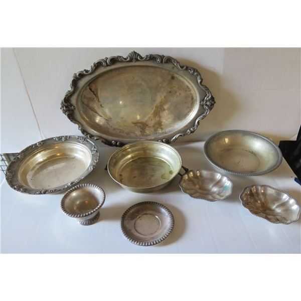Qty 8 Serving Dishes, Engraved Platter and Candy Dishes, Stamped by Various Makers