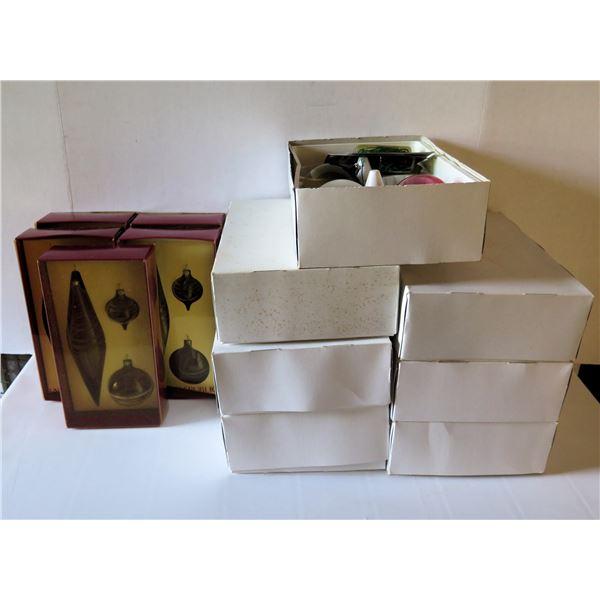 Qty 12 Boxed Christmas Ornaments, 5 Banana Republic, 7 Colored Glass Balls