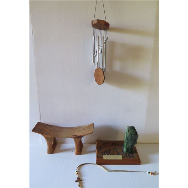 Qty 4 Misc., Windchimes, Wooden Stool Signed, Wooden Placque w/Green Stone, Wood Carved Cross