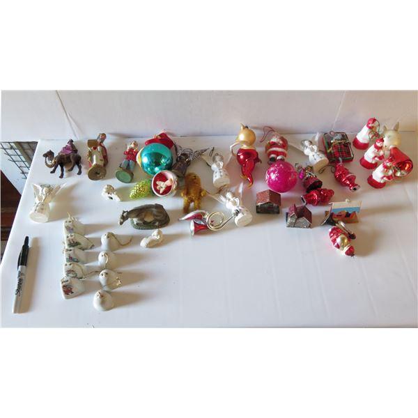 Appx. 40 Christmas Ornaments, Metal, Ceramic, Glass