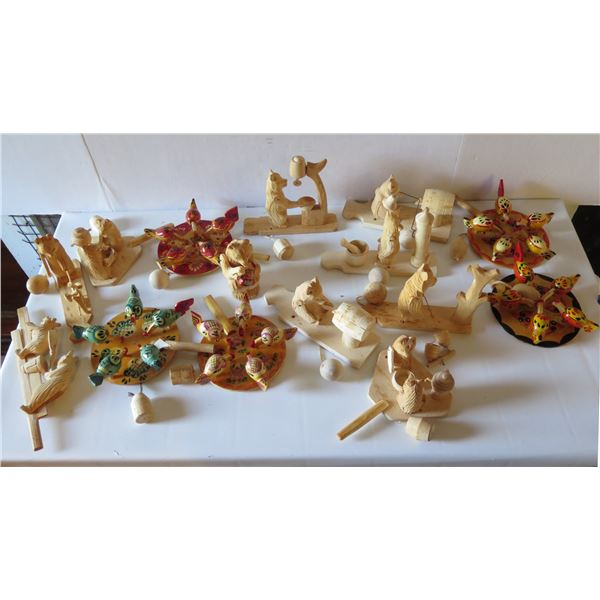 Qty 15 Small Wood Carved Animals, 5 Painted Birds on Wooden Disc
