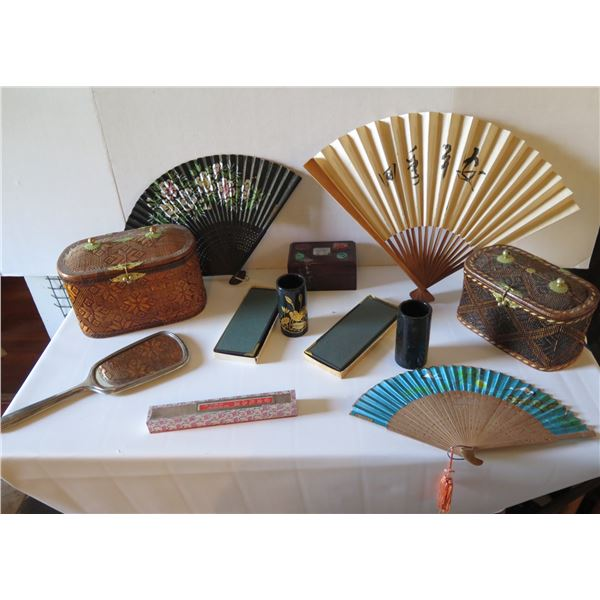 Qty 12 Accessories,Wooden Box, 3 Chinese Fans, Sterling Mirror, 2 Sm Folding Screens, 2 Black Cups