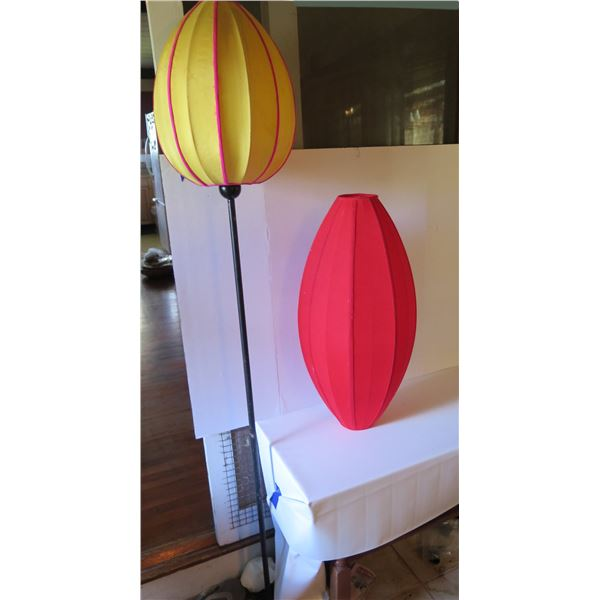 Qty 2 Silk Lanterns, 1 Metal Stand w/Light, Yellow & Pink Shade,
