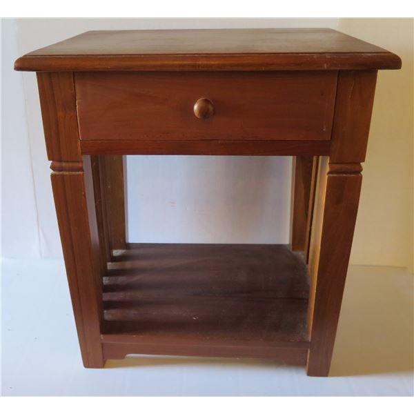"""Wooden Square Side Table w/ 1 Drawer, Indonesia 17""""x 15""""x 20"""" Tall"""
