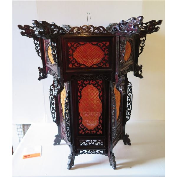 """Chinese Palace Lantern, Carved Wood w/Red Fabric Screen 25"""" Tall"""