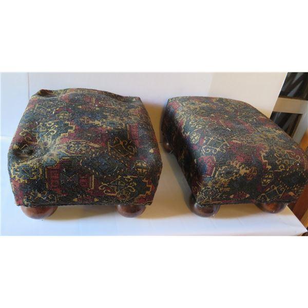 "Qty 2  Footstools w/Bun Feet & Tapestry Upholstery 16""x 13""x 9"" H"