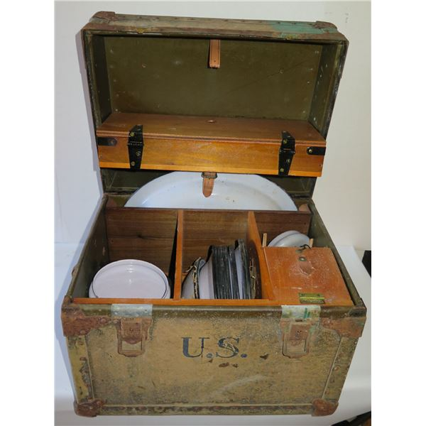 "Vintage U.S. Trunk w/ Coffeepot, Dishes & Utensils 17.75""x 13.75""x 14.5""H"